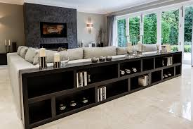 long low bookcase family room contemporary with art glass lighting
