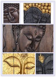 large carved wooden thai buddha wood wall 3x panels