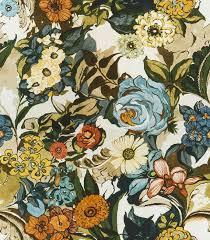Blue Home Decor Fabric Aqua Blue Orange Fabric Digital Print Upholstery Fabric Navy