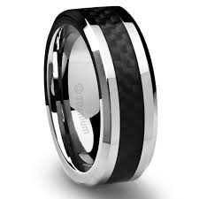 black titanium 8mm men s titanium ring wedding band black carbon fiber inlay and