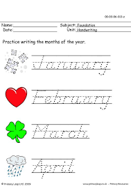 primaryleap co uk handwriting months of the year worksheet