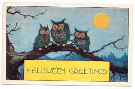 vintage halloween postcard whitney three owls in tree full moon