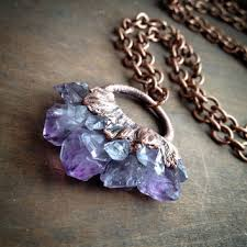 electroforming copper amethyst necklace electroformed from copper drift jewelry