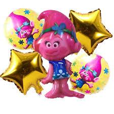 foil balloons 5pcs lot birthday trolls helium foil balloons birthday party