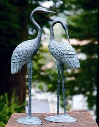 crane duo garden statues at costco gardening