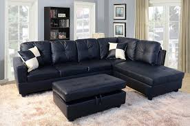 Modern Leather Sectional Sofa Living Room Dark Leather Modern Sectional Sofa With Ottoman