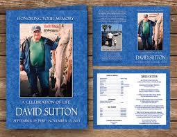 memorial programs fishing fisherman funeral program blue color