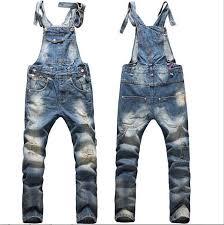 jean rompers and jumpsuits 2018 fashion big boys mens ripped denim bib overalls large