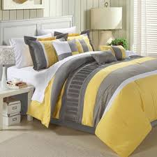 Grey King Size Comforter Set King Size 12 Piece Comforter Set In Gray Yellow White Stripes