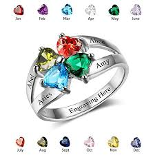 birthstone rings personalized anniversary family rings engrave name