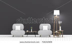 Gray Sofa In Living Room Classic Livingroom Interior Green Couch Near Stock Illustration