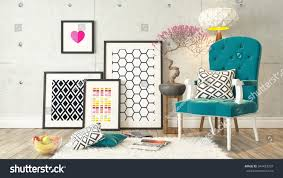 Wall Picture Frames by Picture Frames Blue Bergere Concrete Wall Stock Illustration