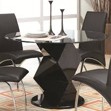 Glass Top Pedestal Dining Room Tables by Amazon Com Ophelia Zig Zag Black Round Glass Top Dining Table