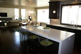 decor kitchen cabinets and kitchen island with waterfall