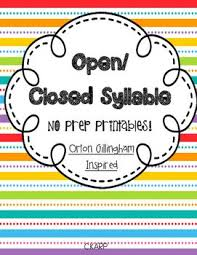 v cv orton gillingham inspired open and closed syllable no prep