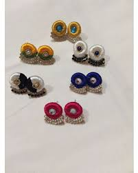 thread earrings deals on handmade silk thread stud earrings