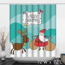 cute merry christmas santa claus and elk shower curtain custom