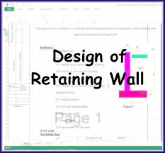 design of retaining wall excel sheet