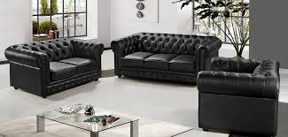 Sofa Casa Leather Casa 3 Modern Black Half Leather Sofa Set