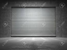 rolling garage doors residential construction of grungy concrete with roll up door stock photo