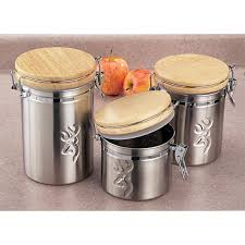 3 pc browning home and lodge stainless steel canister set
