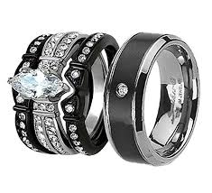 wedding rings his hers couples wedding bands his hers 4pcs black titanium cz matching