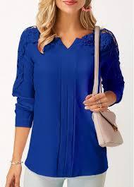 royal blue blouse top sleeve lace panel royal blue blouse rosewe com usd 27 75