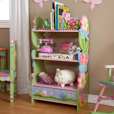 carved colorful garden theme wooden shelves with three row pink
