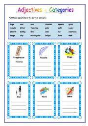 worksheet adjectives categories