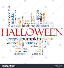 halloween word cloud concept great terms stock illustration