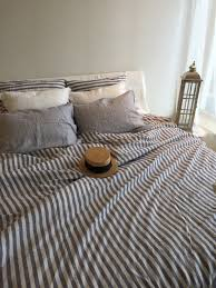 linen duvet cover striped linen bedding blue and white