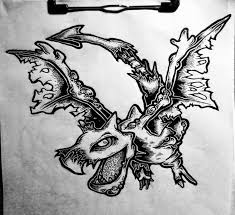 wonderful uncolored flying zombie dragon tattoo design