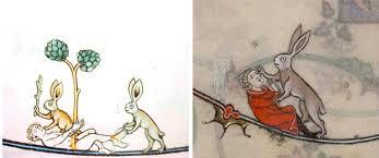 violent rabbit illustrations found in the margins of medieval