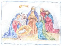 vector illustration with nativity baby jesus