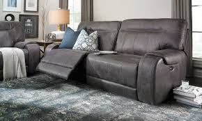 Grey Reclining Sofa Furniture Austere Faux Leather Reclining Sofa In Gray With