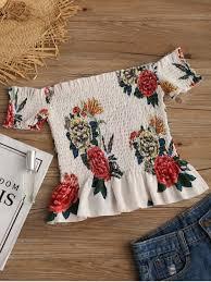 s blouse shoulder ruffles floral smocked blouse floral blouses s zaful