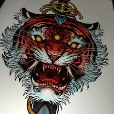 black ink tiger tattoo design for men