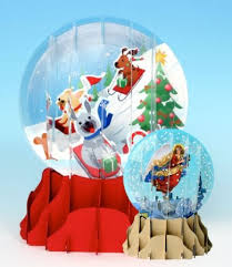 greeting card pop up 3 d snow globe dogs 3d cards