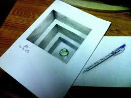 how to draw hole for kids anamorphic illusion trick art on paper