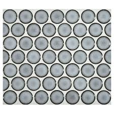 penny round mosaic blue frost gloss complete tile collection