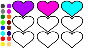 heart coloring page l coloring book learn colors for children