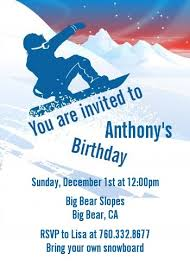 snowboard birthday party invitations candles and favors