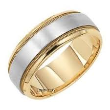 gold mens wedding band two tone gold mens wedding rings milgrain 7mm white yellow gold