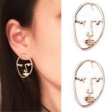 human earrings gold hollow human statement dangle earrings women fashion