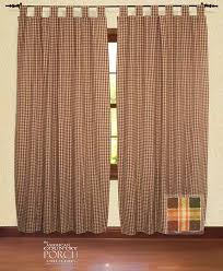 Country Porch Curtains Plaid Tab Top Window Curtain Panels