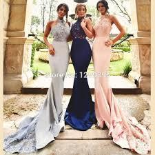 2016 royal blue blush pink silver long mermaid bridesmaid dress