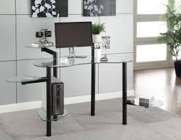 Modern Computer Desks by Shocking Grey Glass Metal Elegant Computer Desk Glass Top Desk