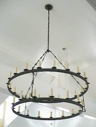 Iron Ring Chandelier Two Tier Iron Ring Chandelier Chandeliers Black Intended For