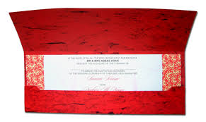 Indian Invitation Card Hw005 Bengali Style Crimson Red Diamante Pocket Wedding