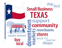 Flags Of The United States Texas Flag With Small Business Word Cloud Illustration To